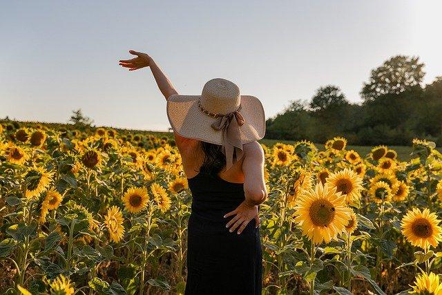 ひまわり畑と女性