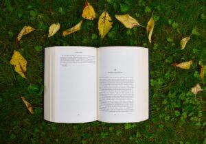 草の上にある本